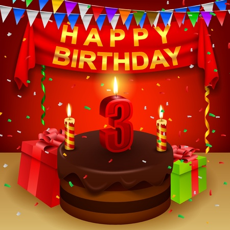 triangular flag: Happy 3rd Birthday with chocolate cream cake and triangular flag