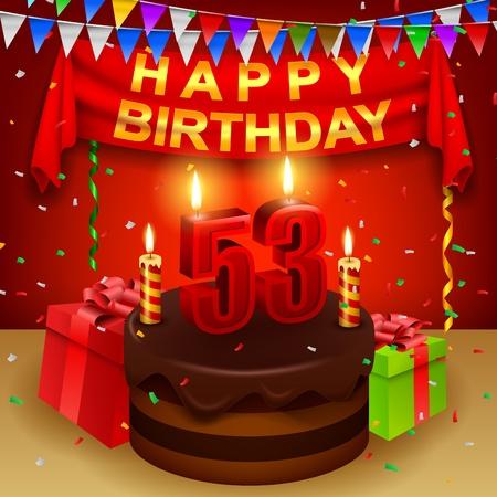 triangular flag: Happy 53rd Birthday with chocolate cream cake and triangular flag