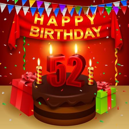 triangular flag: Happy 52nd Birthday with chocolate cream cake and triangular flag