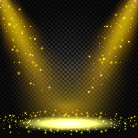 spotlight: Spotlight shining with sprinkles falling on transparent background Illustration