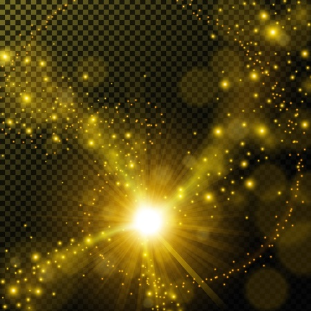Golden shine with lens flare on transparent background