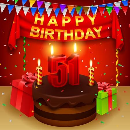 triangular flag: Happy 51st Birthday with chocolate cream cake and triangular flag
