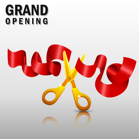 new beginnings: Grand opening with red ribbon and gold scissors