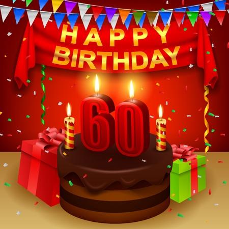 Gelukkige 60ste Verjaardag met chocoladeroom cake en driehoekige vlag