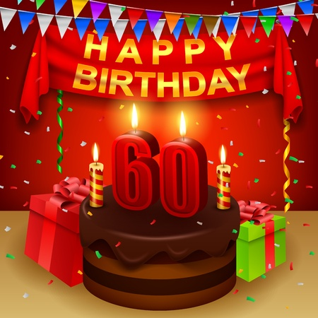 sixtieth: Happy 60th Birthday with chocolate cream cake and triangular flag Illustration