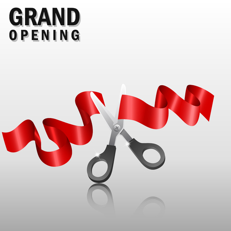 new beginnings: Grand opening with red ribbon and scissors
