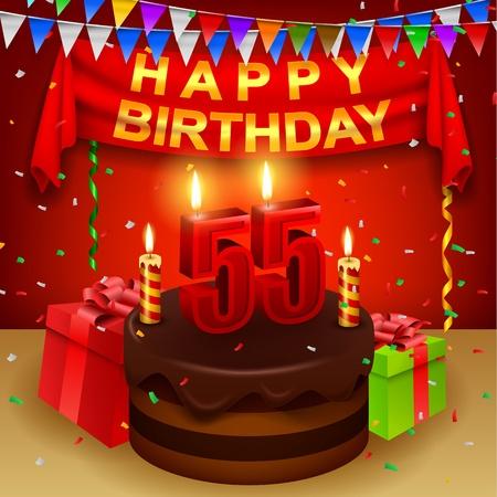 triangular flag: Happy 55th Birthday with chocolate cream cake and triangular flag Illustration