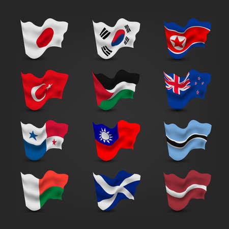 bandera de panama: ondeando la bandera mundo conjuntos Vectores