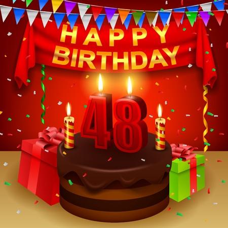 triangular flag: Happy 48th Birthday with chocolate cream cake and triangular flag