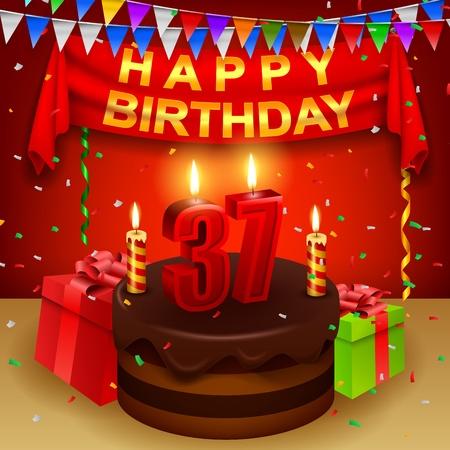 triangular flag: Happy 37th Birthday with chocolate cream cake and triangular flag