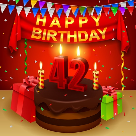 triangular flag: Happy 42nd Birthday with chocolate cream cake and triangular flag Illustration