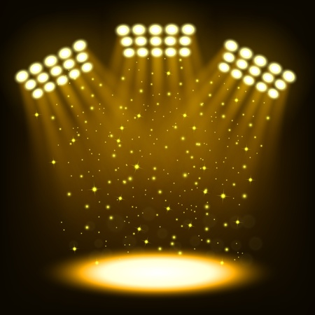 Bright stadium spotlights on dark gold background