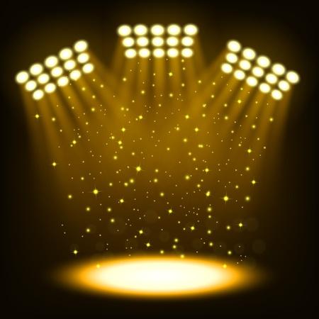 Bright stadion schijnwerpers op donkere gouden achtergrond