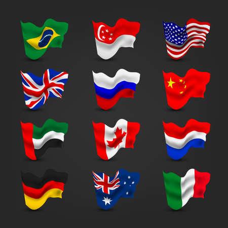 prc: World waving flag sets Illustration