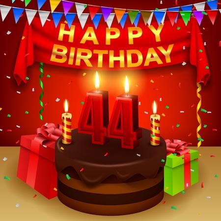 triangular flag: Happy 44th Birthday with chocolate cream cake and triangular flag Illustration