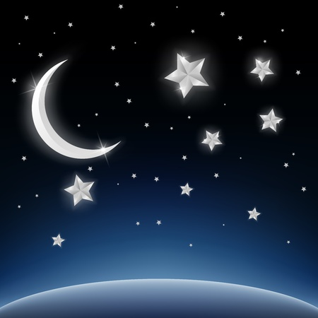 crescent: Crescent moon and stars on space background