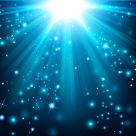 Blauwe lichten schijnen met hagelslag Stock Illustratie