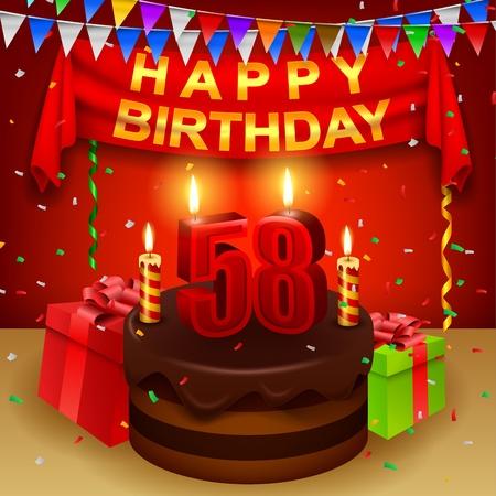 eighth: Happy 58th Birthday with chocolate cream cake and triangular flag Illustration