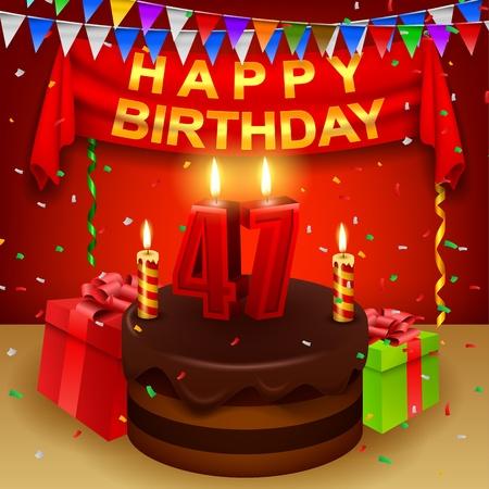 triangular flag: Happy 47th Birthday with chocolate cream cake and triangular flag