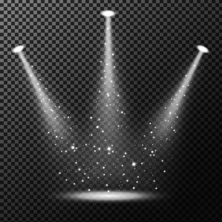 Spotlights shining with sprinkles on transparent background