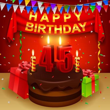 45th: Happy 45th Birthday with chocolate cream cake and triangular flag