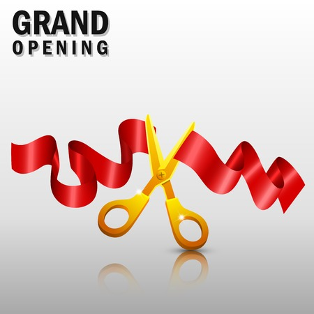 grand open: Grand opening with red ribbon and gold scissors