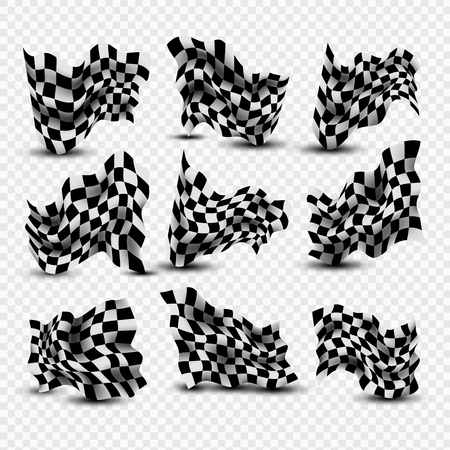Waving Checkered Flags set Ilustrace