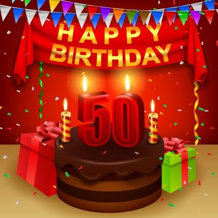 triangular flag: Happy 50th Birthday with chocolate cream cake and triangular flag Illustration