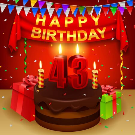 triangular flag: Happy 43rd Birthday with chocolate cream cake and triangular flag