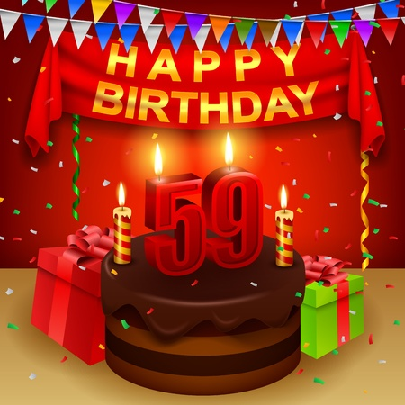 Happy 59th Birthday with chocolate cream cake and triangular flag