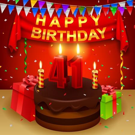 triangular flag: Happy 41st Birthday with chocolate cream cake and triangular flag