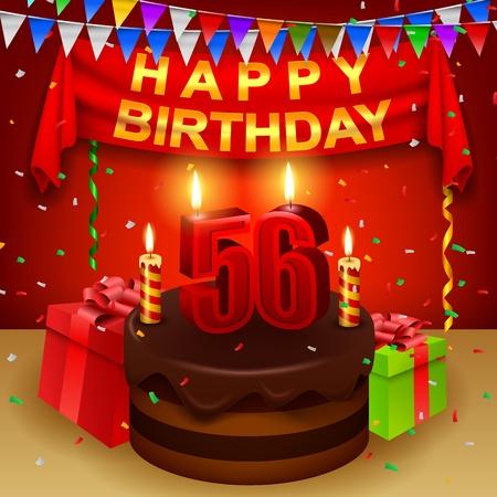 triangular flag: Happy 56th Birthday with chocolate cream cake and triangular flag Illustration