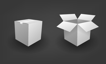 Blank open and closed white box package business concept Illustration