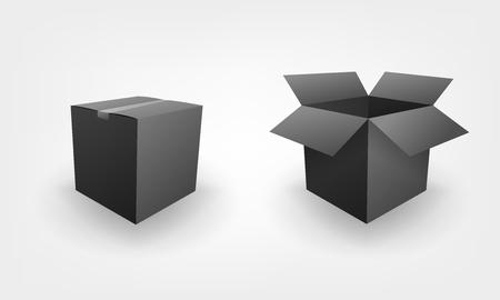 Leeg open en gesloten zwarte doos pakket business concept