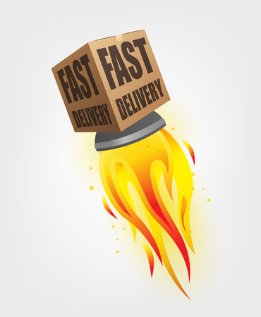 webshop: Fast Delivery Package Shipping Online with rocket concept Illustration