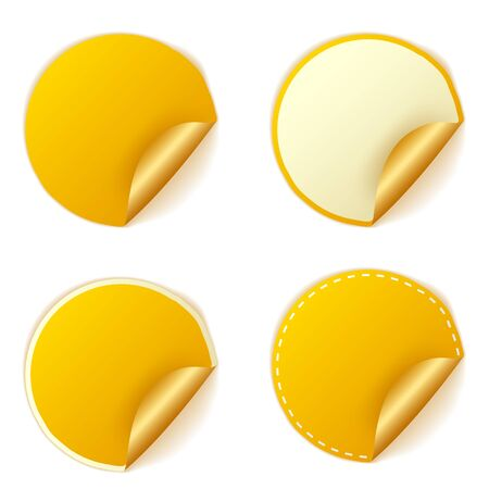 curl: Blank gold round stickers with curl sets