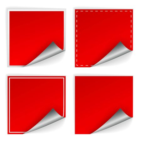 price label: Blank red square stickers with curl sets