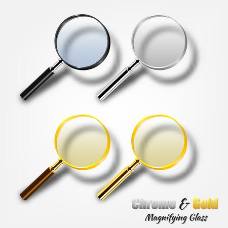 Chroom en goud realistisch vergrootglas sets Vector Illustratie
