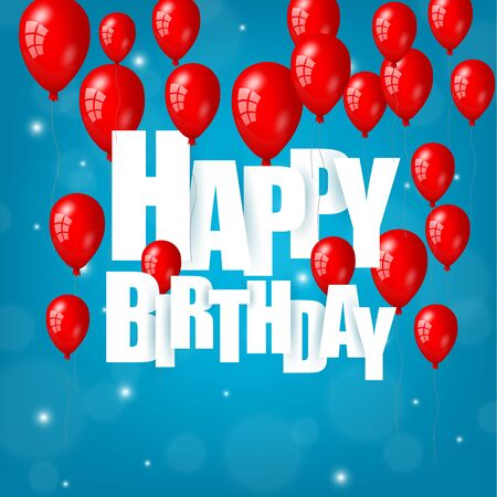 red balloons: Happy Birthday text with red balloons