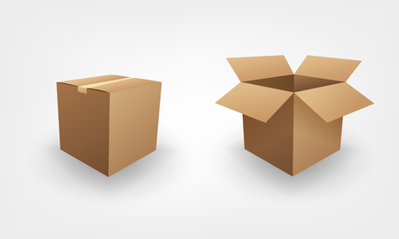 brown box: Blank open and closed brown box package business concept