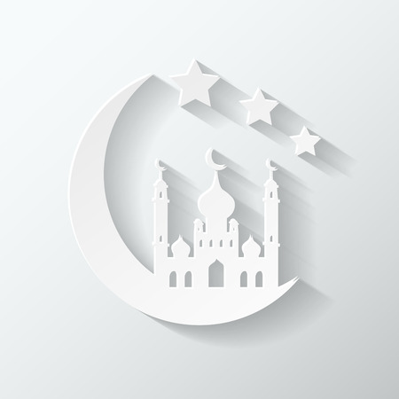 crescent moon: Crescent moon and mosque, islamic silhouette celebrations Illustration