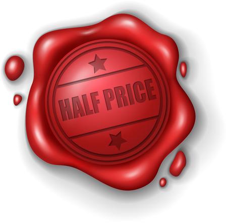 wax stamp: Half price wax seal stamp realistic Illustration