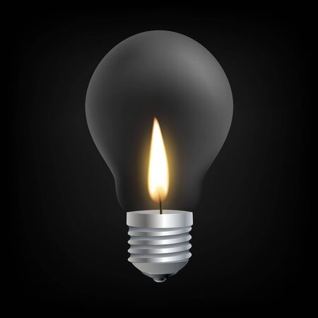 incandescent: Candle light in Incandescent Light bulb concept Illustration