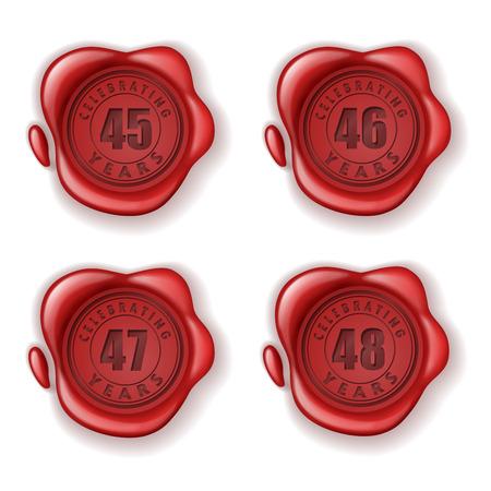 sixth: Celebrating 45-48 years greeting card wax seal