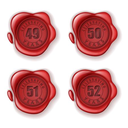 the fiftieth: Celebrating 49-52 years greeting card wax seal