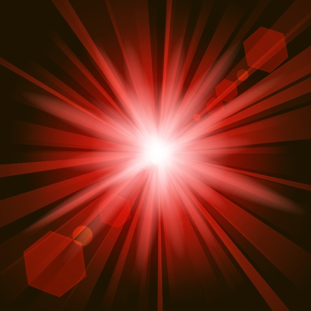 dazzling: Red shine with lens flare background