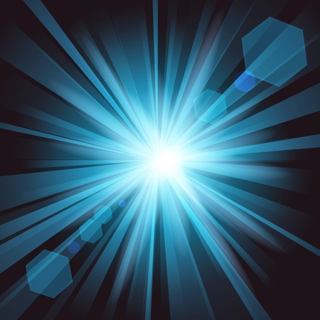 dazzling: Blue shine with lens flare from darkness background