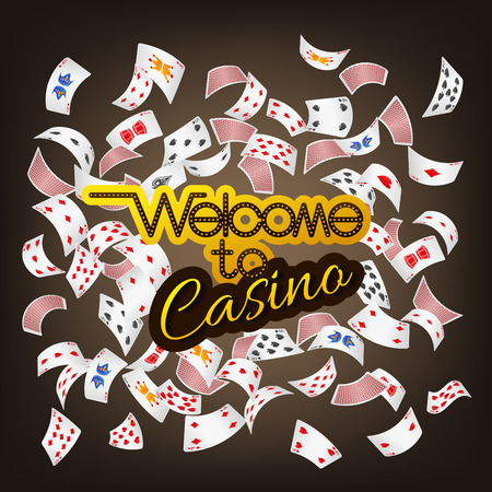 Welcome to Casino sign with poker card scattered