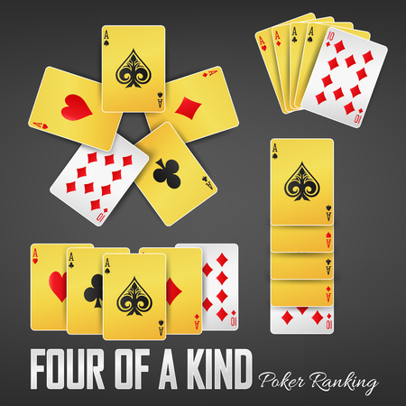Four of a kind poker ranking casino sets  イラスト・ベクター素材