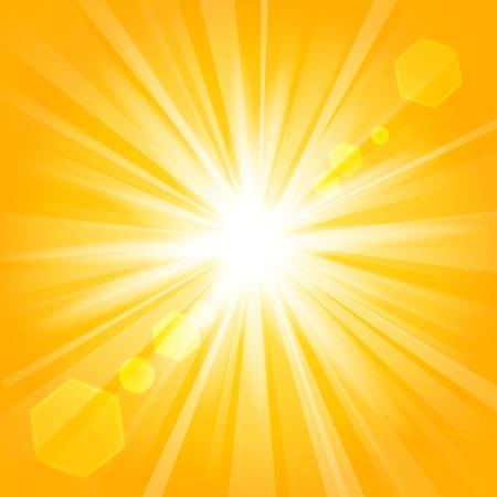 glaring: Golden shine with lens flare background
